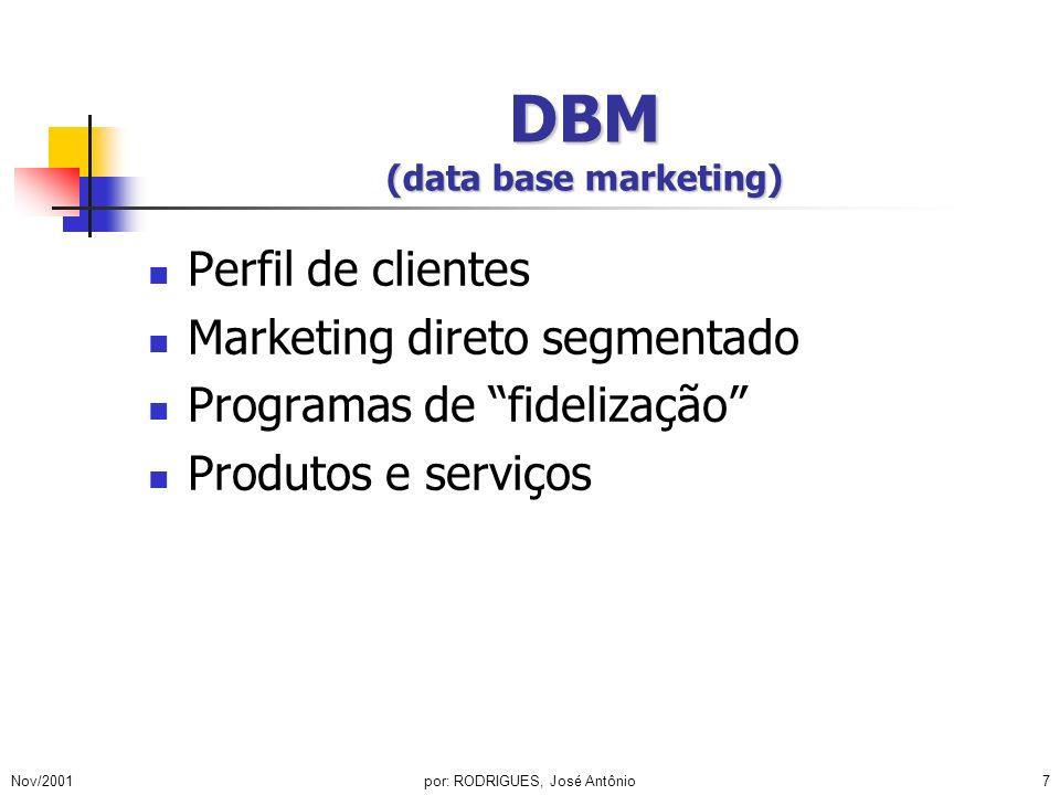 Nov/2001por: RODRIGUES, José Antônio7 DBM (data base marketing) Perfil de clientes Marketing direto segmentado Programas de fidelização Produtos e ser
