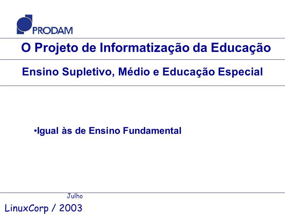 O Projeto de Informatização da Educação Julho LinuxCorp / 2003 Ensino Supletivo, Médio e Educação Especial Igual às de Ensino Fundamental