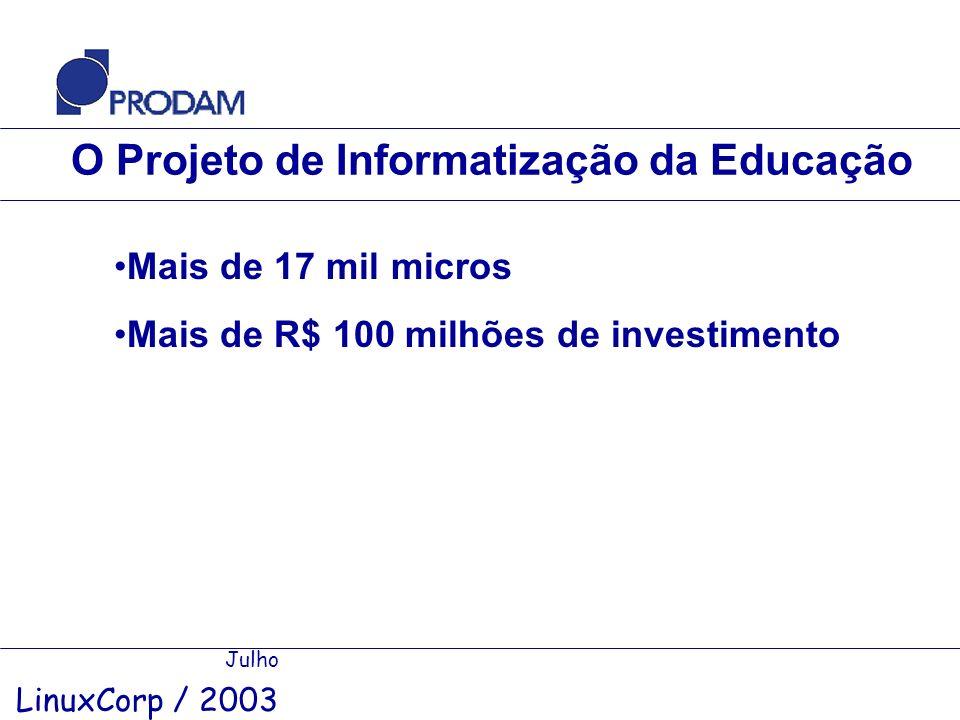 O Projeto de Informatização da Educação Julho LinuxCorp / 2003 Mais de 17 mil micros Mais de R$ 100 milhões de investimento