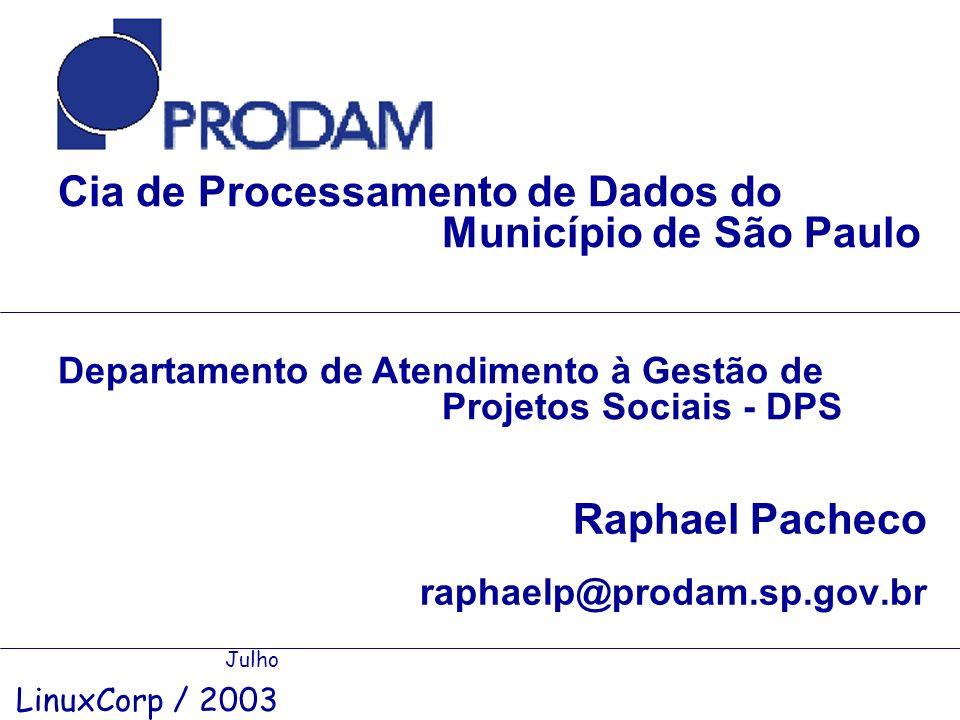 Raphael Pacheco raphaelp@prodam.sp.gov.br Cia de Processamento de Dados do Município de São Paulo Julho LinuxCorp / 2003 Departamento de Atendimento à