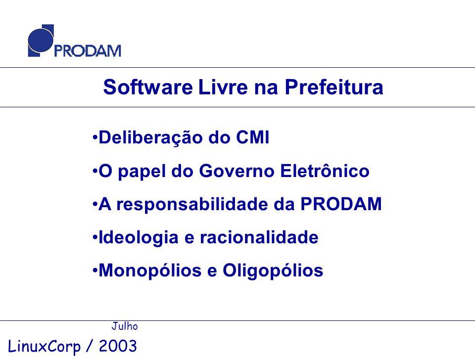 Software Livre na Prefeitura Julho LinuxCorp / 2003 Deliberação do CMI O papel do Governo Eletrônico A responsabilidade da PRODAM Ideologia e racional