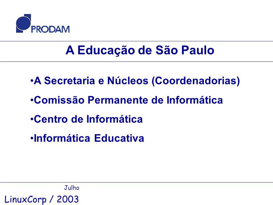 A Educação de São Paulo Julho LinuxCorp / 2003 A Secretaria e Núcleos (Coordenadorias) Comissão Permanente de Informática Centro de Informática Inform