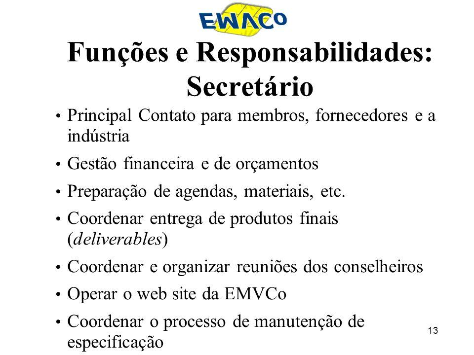 13 Funções e Responsabilidades: Secretário Principal Contato para membros, fornecedores e a indústria Gestão financeira e de orçamentos Preparação de