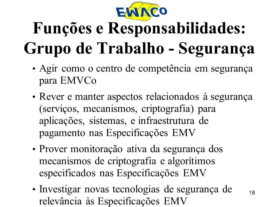 16 Funções e Responsabilidades: Grupo de Trabalho - Segurança Agir como o centro de competência em segurança para EMVCo Rever e manter aspectos relaci