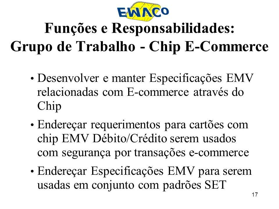 17 Funções e Responsabilidades: Grupo de Trabalho - Chip E-Commerce Desenvolver e manter Especificações EMV relacionadas com E-commerce através do Chi
