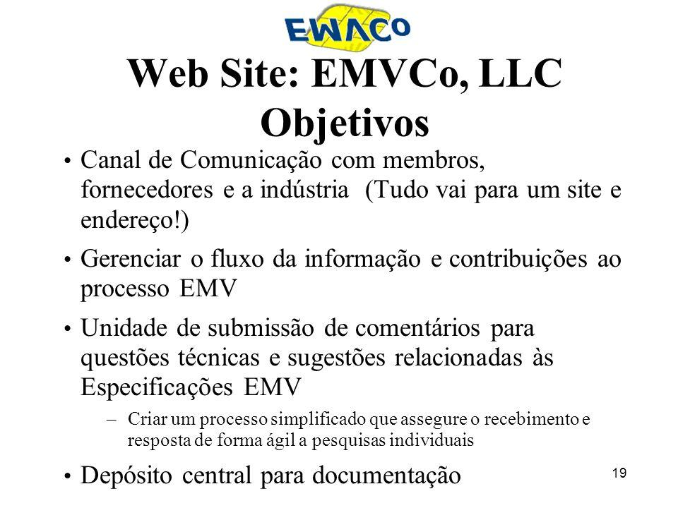 19 Web Site: EMVCo, LLC Objetivos Canal de Comunicação com membros, fornecedores e a indústria (Tudo vai para um site e endereço!) Gerenciar o fluxo d