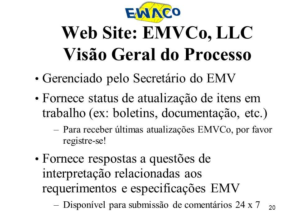 20 Web Site: EMVCo, LLC Visão Geral do Processo Gerenciado pelo Secretário do EMV Fornece status de atualização de itens em trabalho (ex: boletins, do