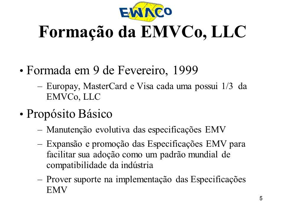 5 Formação da EMVCo, LLC Formada em 9 de Fevereiro, 1999 –Europay, MasterCard e Visa cada uma possui 1/3 da EMVCo, LLC Propósito Básico –Manutenção ev