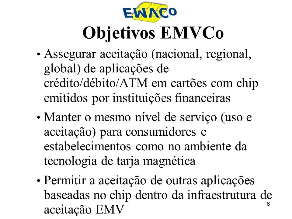 6 Objetivos EMVCo Assegurar aceitação (nacional, regional, global) de aplicações de crédito/débito/ATM em cartões com chip emitidos por instituições f