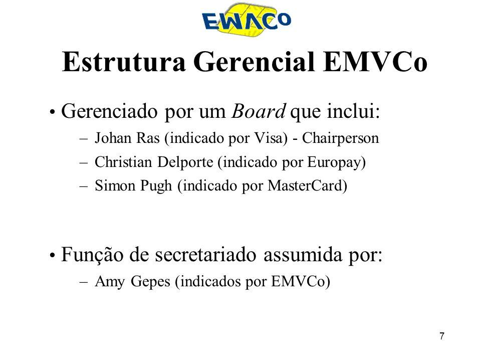 7 Estrutura Gerencial EMVCo Gerenciado por um Board que inclui: –Johan Ras (indicado por Visa) - Chairperson –Christian Delporte (indicado por Europay