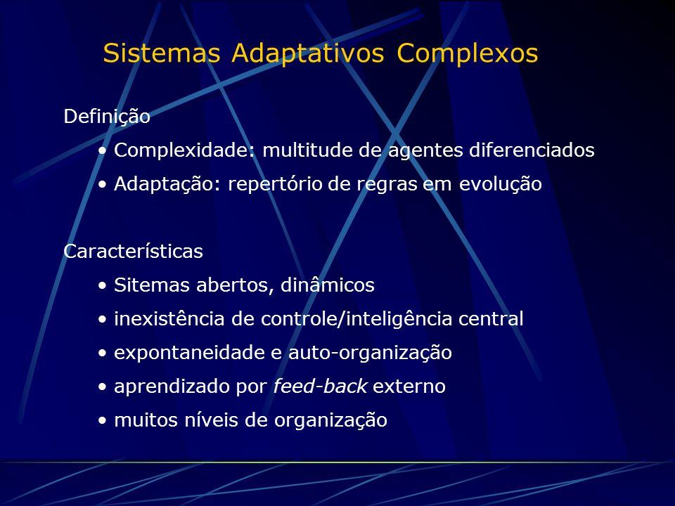 Sistemas Adaptativos Complexos Definição Complexidade: multitude de agentes diferenciados Adaptação: repertório de regras em evolução Características Sitemas abertos, dinâmicos inexistência de controle/inteligência central expontaneidade e auto-organização aprendizado por feed-back externo muitos níveis de organização