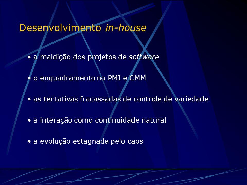 Desenvolvimento in-house a maldição dos projetos de software o enquadramento no PMI e CMM as tentativas fracassadas de controle de variedade a interação como continuidade natural a evolução estagnada pelo caos