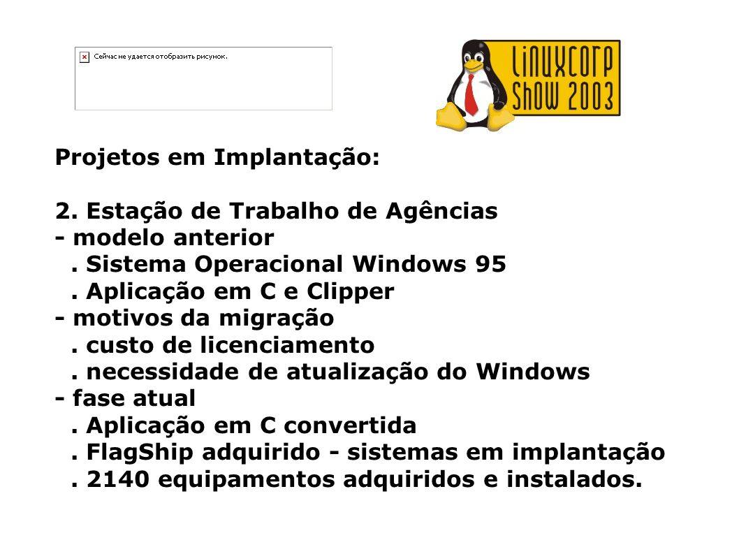 Projetos em Implantação: 2. Estação de Trabalho de Agências - modelo anterior. Sistema Operacional Windows 95. Aplicação em C e Clipper - motivos da m