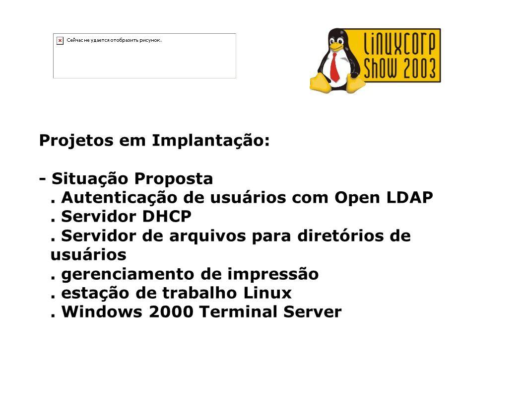 Projetos em Implantação: - Situação Proposta. Autenticação de usuários com Open LDAP. Servidor DHCP. Servidor de arquivos para diretórios de usuários.