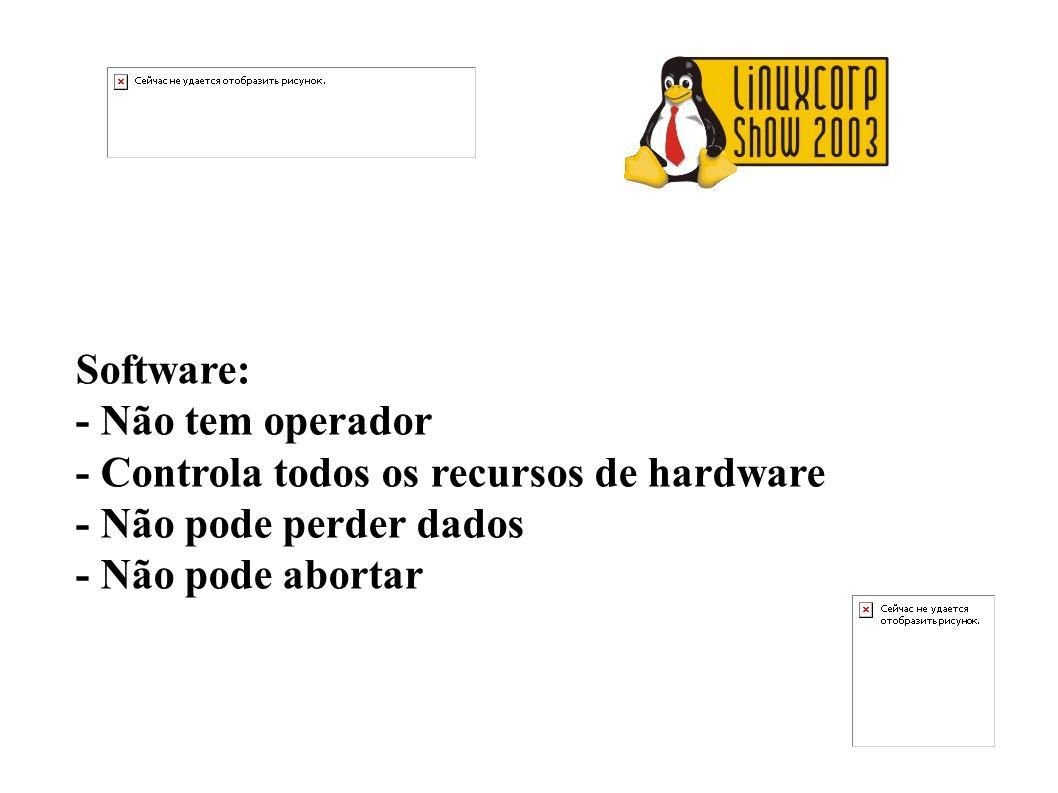 Software: - Não tem operador - Controla todos os recursos de hardware - Não pode perder dados - Não pode abortar