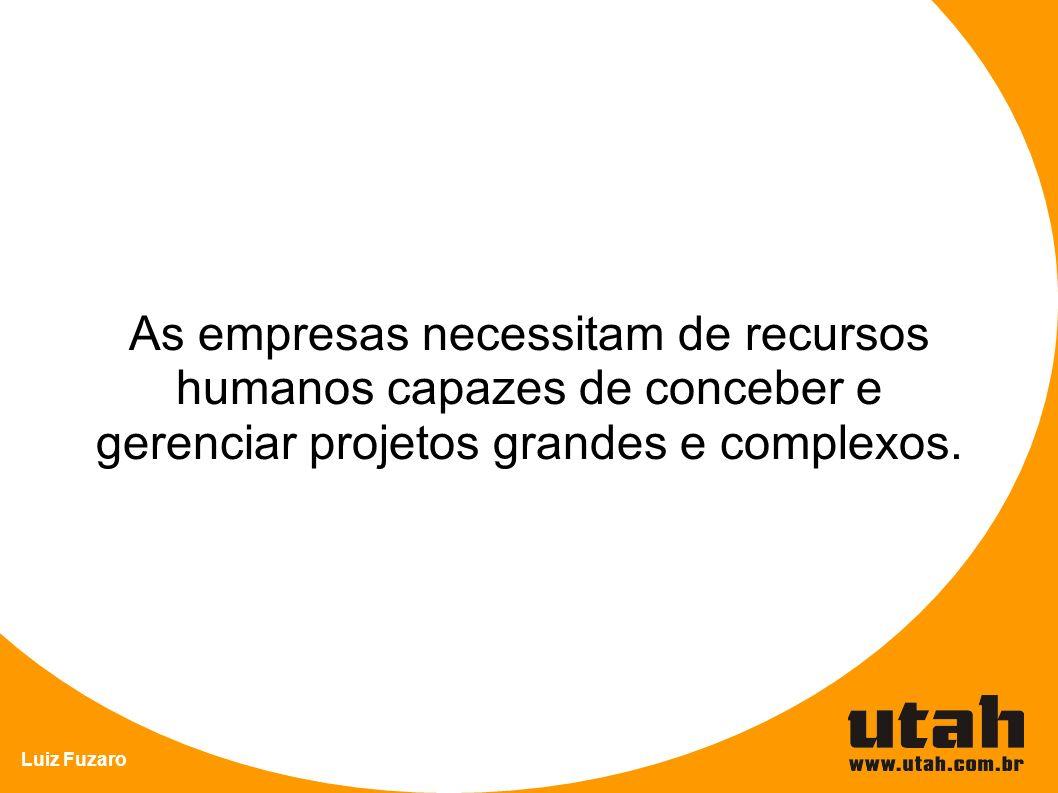 Luiz Fuzaro As empresas necessitam de recursos humanos capazes de conceber e gerenciar projetos grandes e complexos.