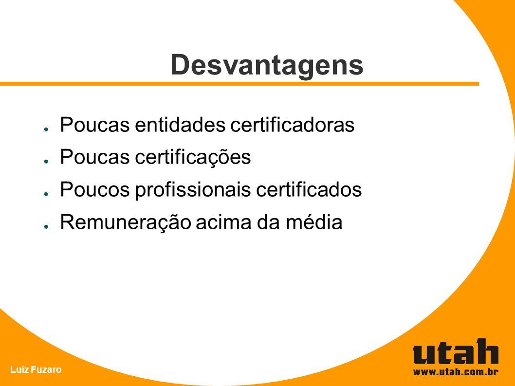 Luiz Fuzaro Desvantagens Poucas entidades certificadoras Poucas certificações Poucos profissionais certificados Remuneração acima da média