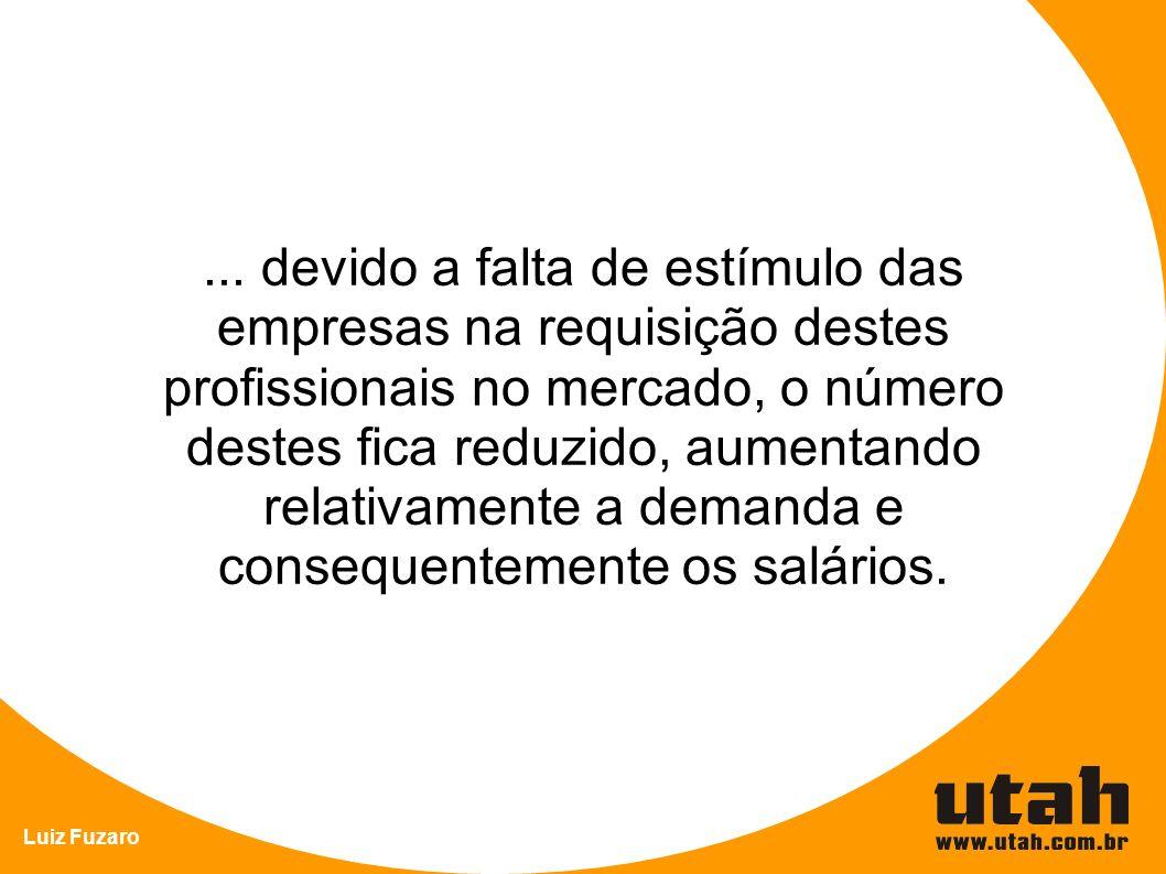 Luiz Fuzaro... devido a falta de estímulo das empresas na requisição destes profissionais no mercado, o número destes fica reduzido, aumentando relati