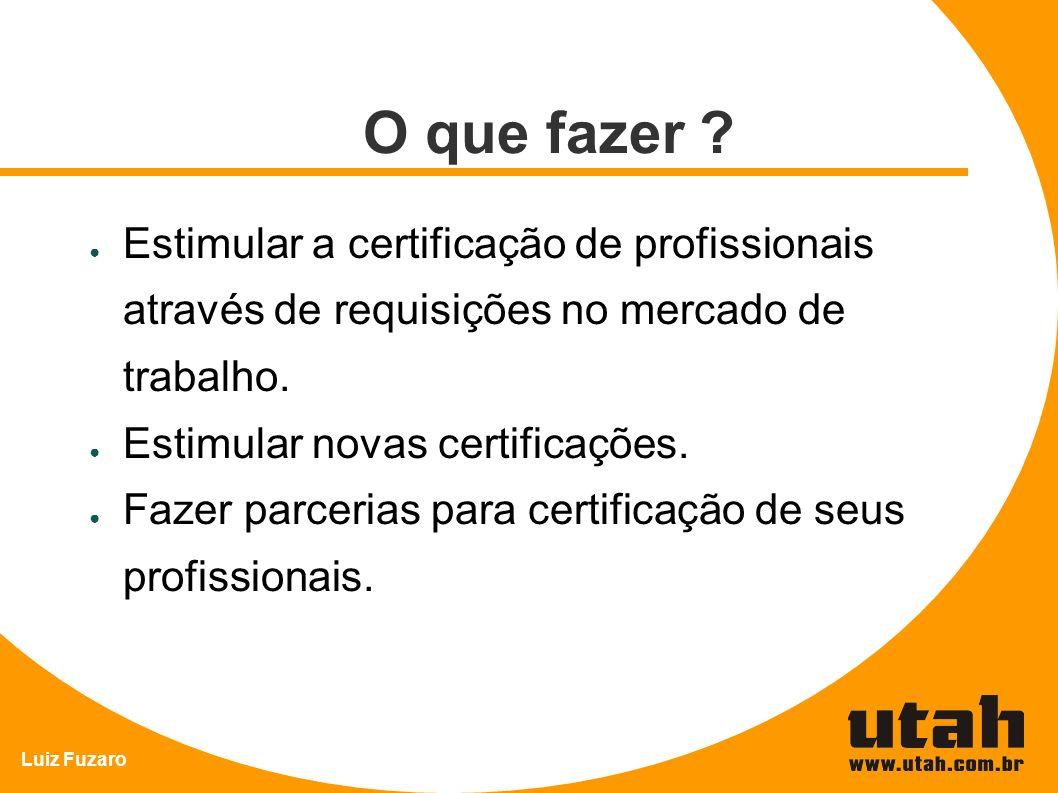 Luiz Fuzaro O que fazer ? Estimular a certificação de profissionais através de requisições no mercado de trabalho. Estimular novas certificações. Faze