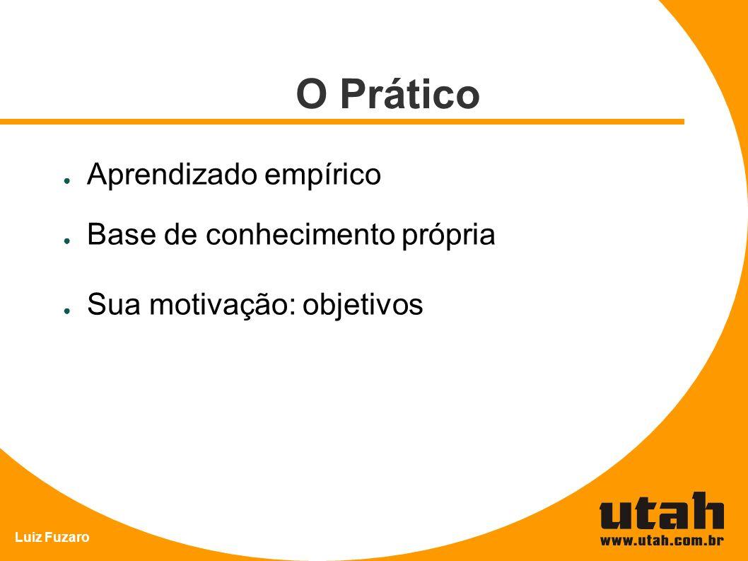 Luiz Fuzaro O Prático Aprendizado empírico Base de conhecimento própria Sua motivação: objetivos