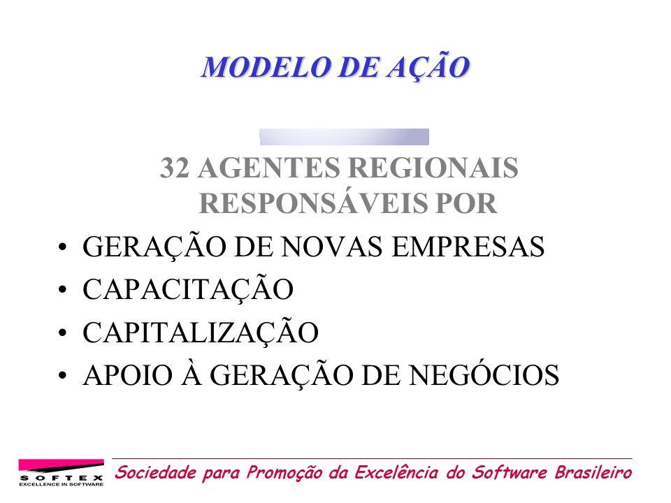 Sociedade para Promoção da Excelência do Software Brasileiro MODELO DE AÇÃO 32 AGENTES REGIONAIS RESPONSÁVEIS POR GERAÇÃO DE NOVAS EMPRESAS CAPACITAÇÃ