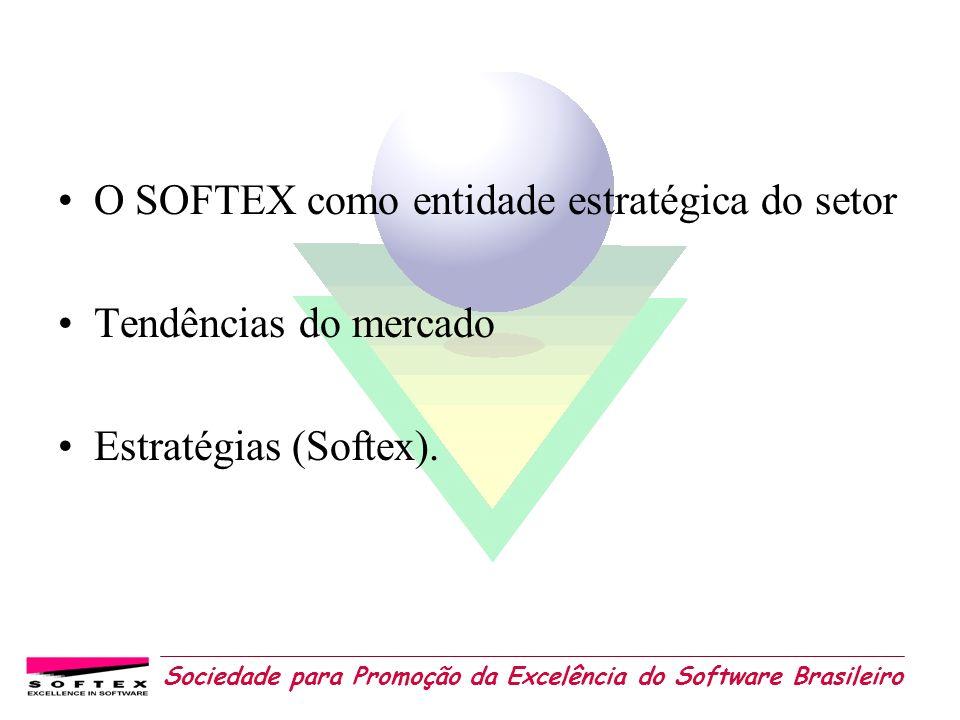 Sociedade para Promoção da Excelência do Software Brasileiro Papel da Sociedade SOFTEX AÇÃO POLÍTICO-ESTRATÉGICA: fornecer subsídios à implantação de uma nova Política de Software e Serviços de TI no País.