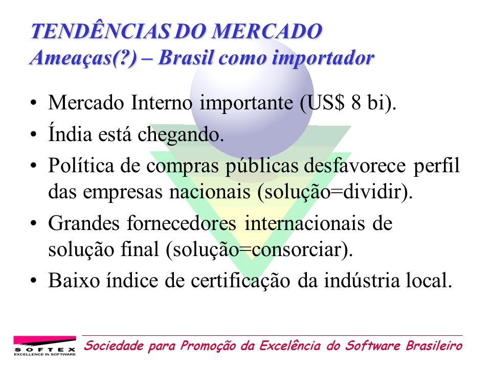 Sociedade para Promoção da Excelência do Software Brasileiro TENDÊNCIAS DO MERCADO Ameaças(?) – Brasil como importador Mercado Interno importante (US$