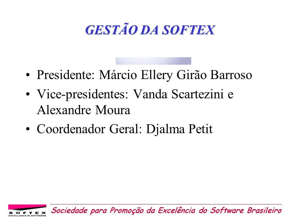 Sociedade para Promoção da Excelência do Software Brasileiro GESTÃO DA SOFTEX Presidente: Márcio Ellery Girão Barroso Vice-presidentes: Vanda Scartezi