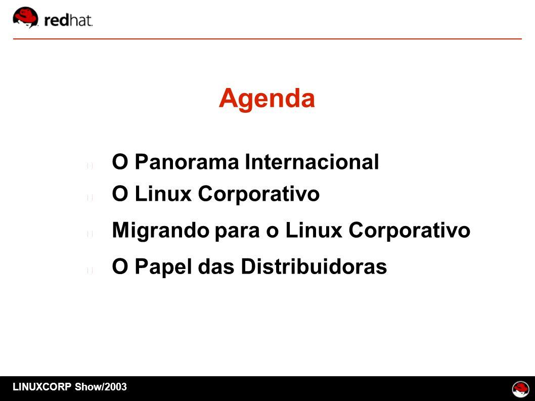 Agenda O Panorama Internacional O Linux Corporativo Migrando para o Linux Corporativo O Papel das Distribuidoras LINUXCORP Show/2003