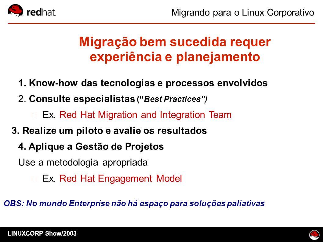 Migração bem sucedida requer experiência e planejamento 1. Know-how das tecnologias e processos envolvidos 2. Consulte especialistas (Best Practices)