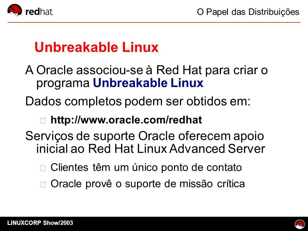 LINUXCORP Show/2003 O Papel das Distribuições Unbreakable Linux A Oracle associou-se à Red Hat para criar o programa Unbreakable Linux Dados completos