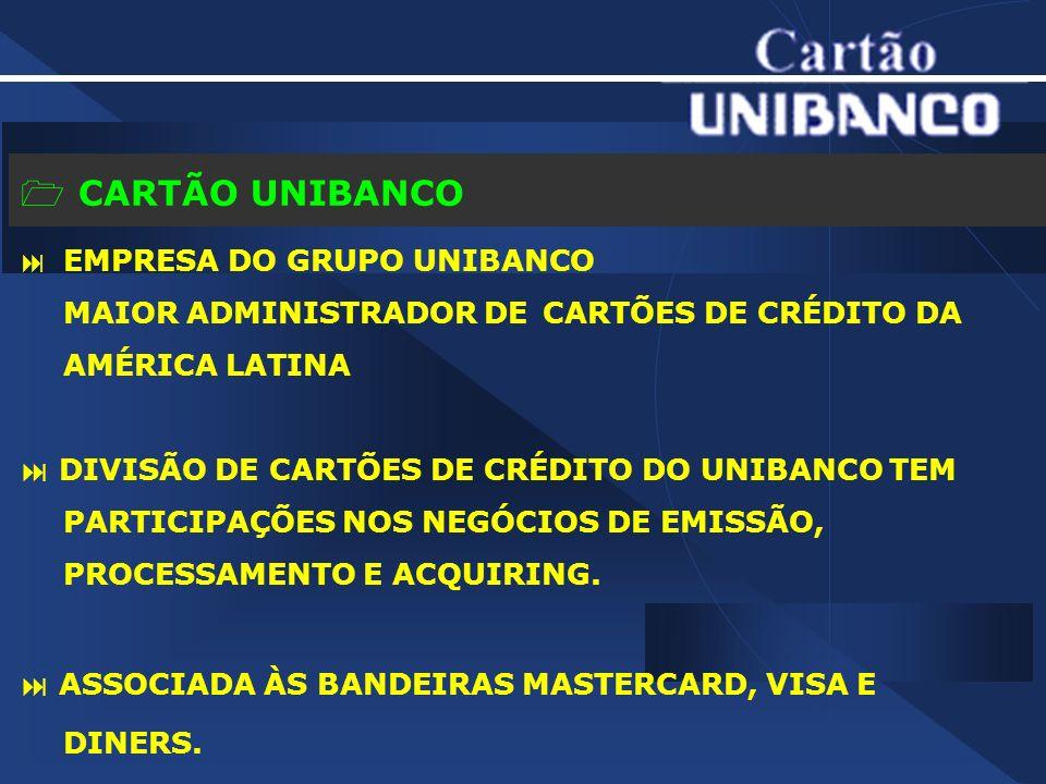 CARTÃO UNIBANCO EMPRESA DO GRUPO UNIBANCO MAIOR ADMINISTRADOR DE CARTÕES DE CRÉDITO DA AMÉRICA LATINA DIVISÃO DE CARTÕES DE CRÉDITO DO UNIBANCO TEM PARTICIPAÇÕES NOS NEGÓCIOS DE EMISSÃO, PROCESSAMENTO E ACQUIRING.