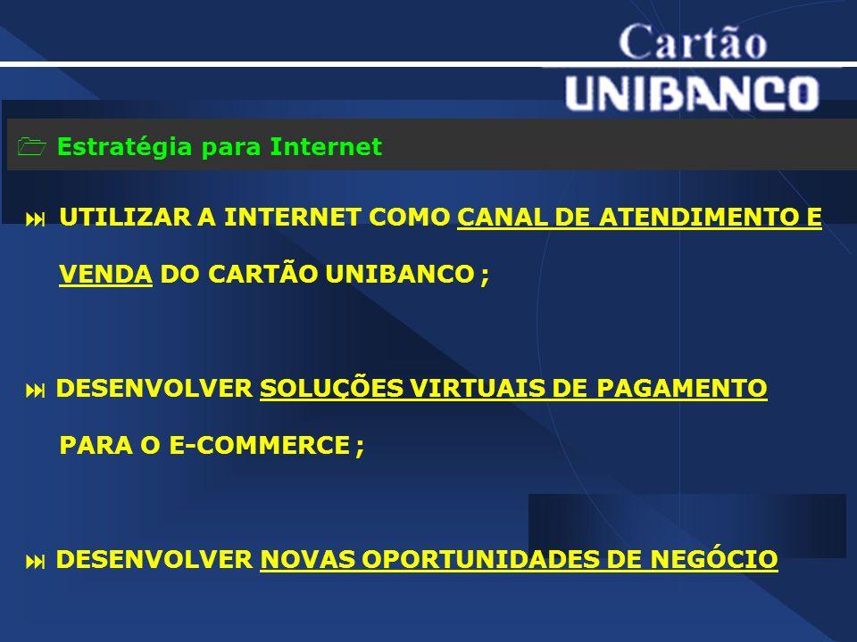 Estratégia para Internet UTILIZAR A INTERNET COMO CANAL DE ATENDIMENTO E VENDA DO CARTÃO UNIBANCO ; DESENVOLVER SOLUÇÕES VIRTUAIS DE PAGAMENTO PARA O E-COMMERCE ; DESENVOLVER NOVAS OPORTUNIDADES DE NEGÓCIO