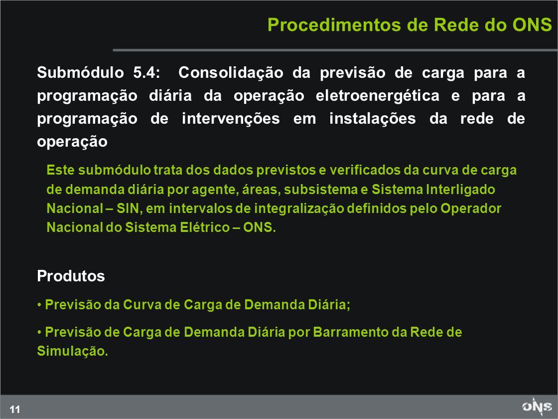 11 Procedimentos de Rede do ONS Submódulo 5.4: Consolidação da previsão de carga para a programação diária da operação eletroenergética e para a progr