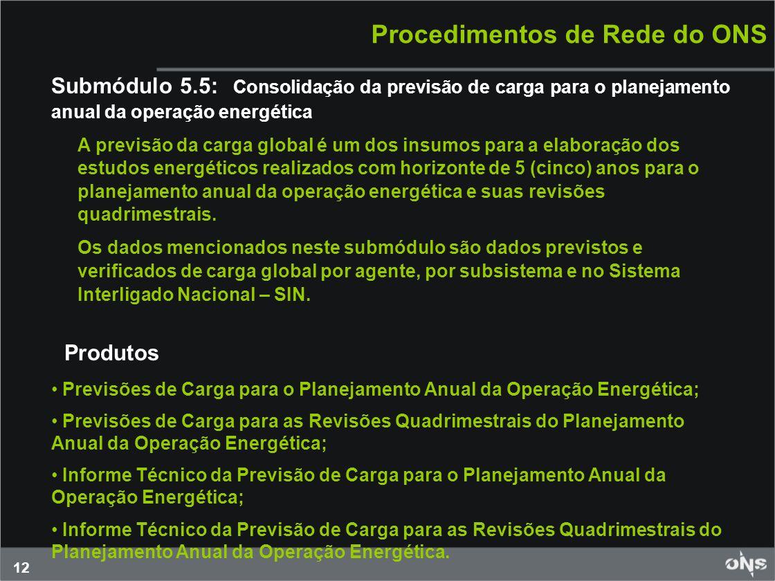 12 Procedimentos de Rede do ONS Submódulo 5.5: Consolidação da previsão de carga para o planejamento anual da operação energética A previsão da carga