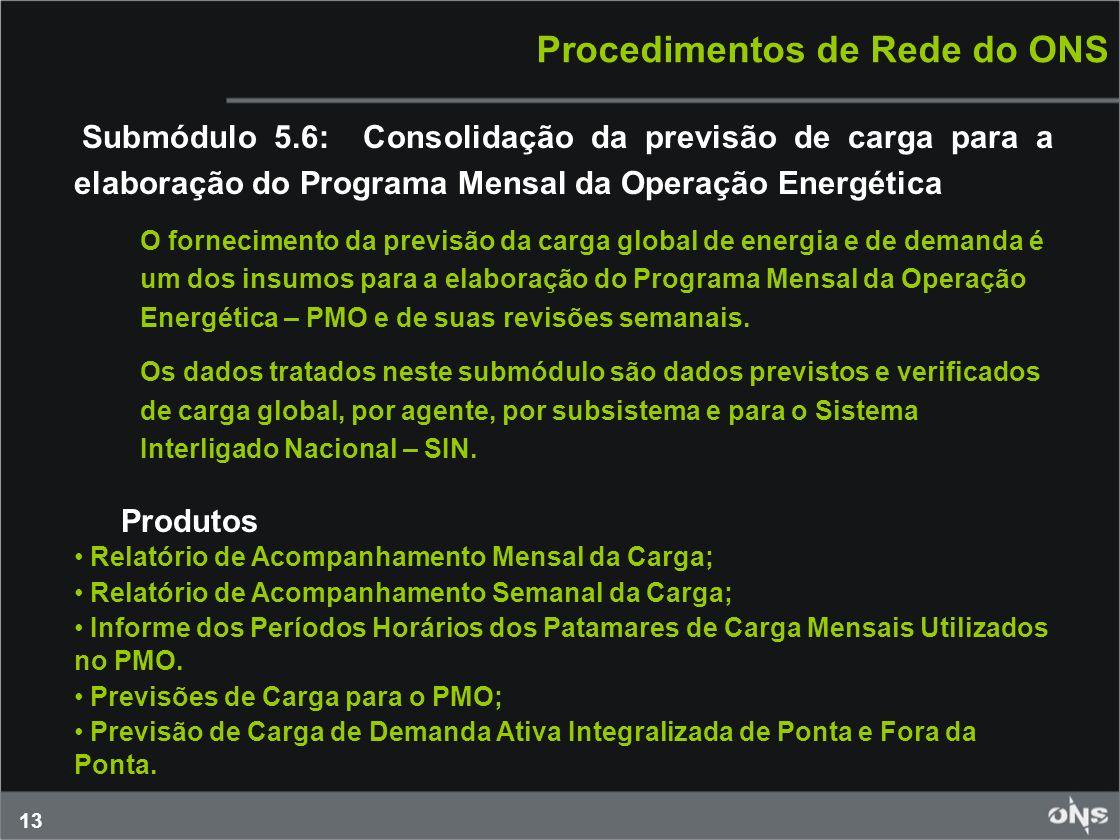 13 Procedimentos de Rede do ONS Submódulo 5.6: Consolidação da previsão de carga para a elaboração do Programa Mensal da Operação Energética O forneci