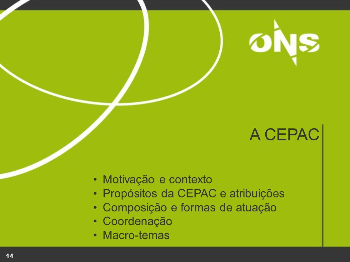 14 A CEPAC Motivação e contexto Propósitos da CEPAC e atribuições Composição e formas de atuação Coordenação Macro-temas