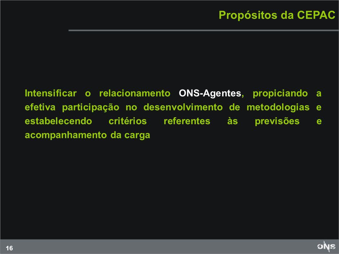16 Propósitos da CEPAC Intensificar o relacionamento ONS-Agentes, propiciando a efetiva participação no desenvolvimento de metodologias e estabelecend