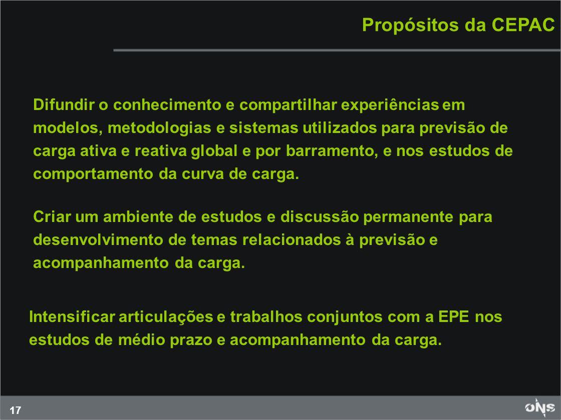 17 Propósitos da CEPAC Difundir o conhecimento e compartilhar experiências em modelos, metodologias e sistemas utilizados para previsão de carga ativa