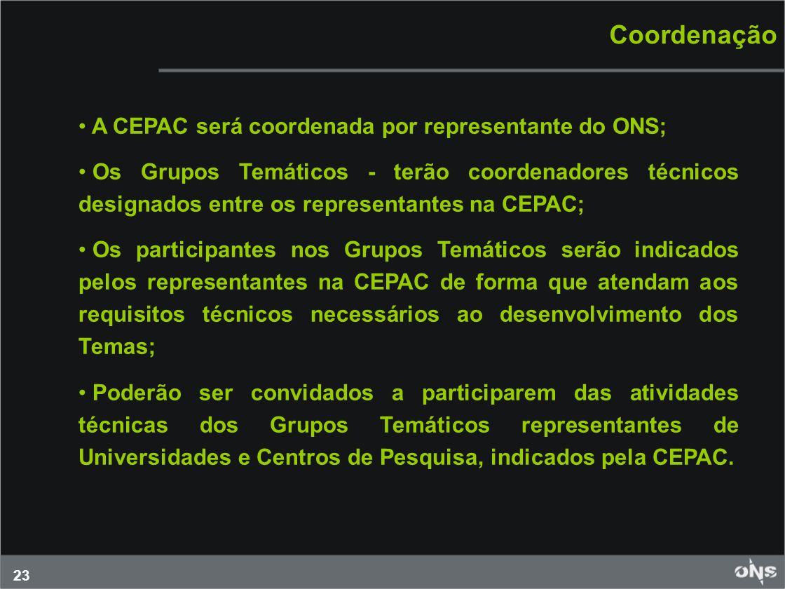 23 Coordenação A CEPAC será coordenada por representante do ONS; Os Grupos Temáticos - terão coordenadores técnicos designados entre os representantes