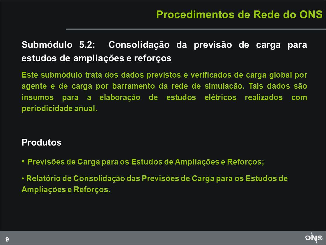9 Procedimentos de Rede do ONS Submódulo 5.2: Consolidação da previsão de carga para estudos de ampliações e reforços Este submódulo trata dos dados p