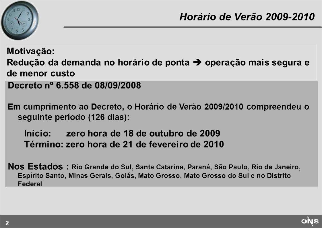 2 Horário de Verão 2009-2010 Decreto nº 6.558 de 08/09/2008 Em cumprimento ao Decreto, o Horário de Verão 2009/2010 compreendeu o seguinte período (12