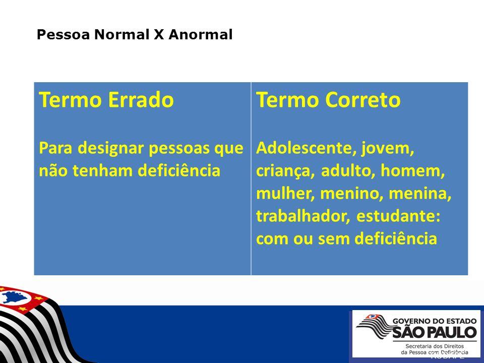 Pessoa Normal X Anormal RODAPÉ Termo Errado Para designar pessoas que não tenham deficiência Termo Correto Adolescente, jovem, criança, adulto, homem,