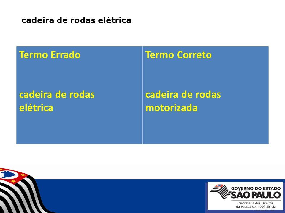 cadeira de rodas elétrica RODAPÉ Termo Errado cadeira de rodas elétrica Termo Correto cadeira de rodas motorizada