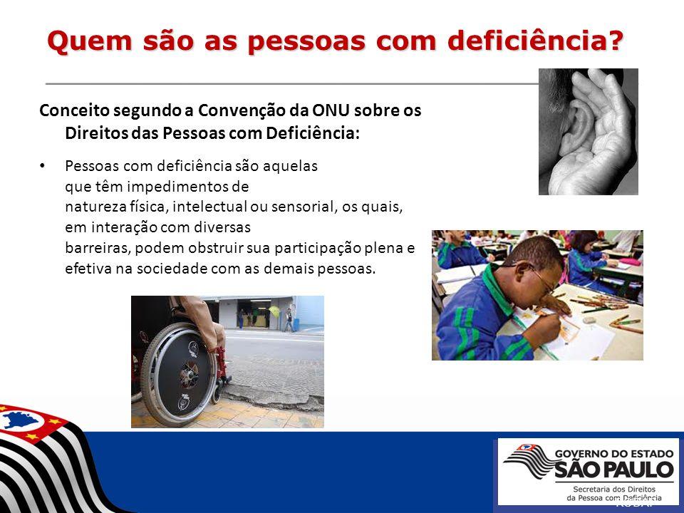 Quem são as pessoas com deficiência? Conceito segundo a Convenção da ONU sobre os Direitos das Pessoas com Deficiência: Pessoas com deficiência são aq
