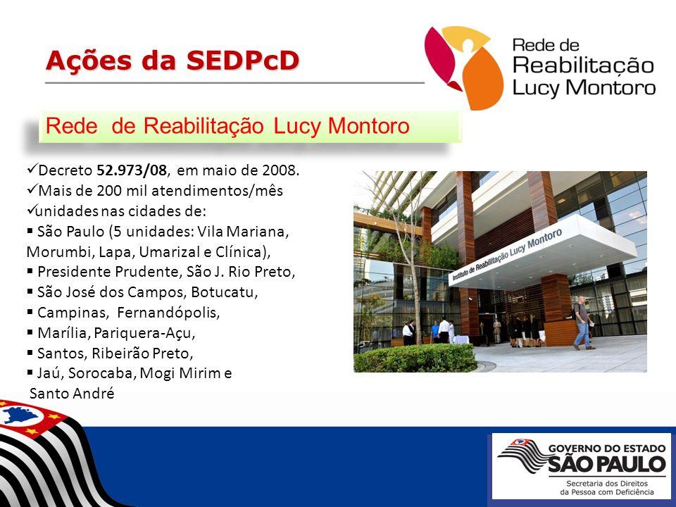 Ações da SEDPcD Decreto 52.973/08, em maio de 2008. Mais de 200 mil atendimentos/mês unidades nas cidades de: São Paulo (5 unidades: Vila Mariana, Mor