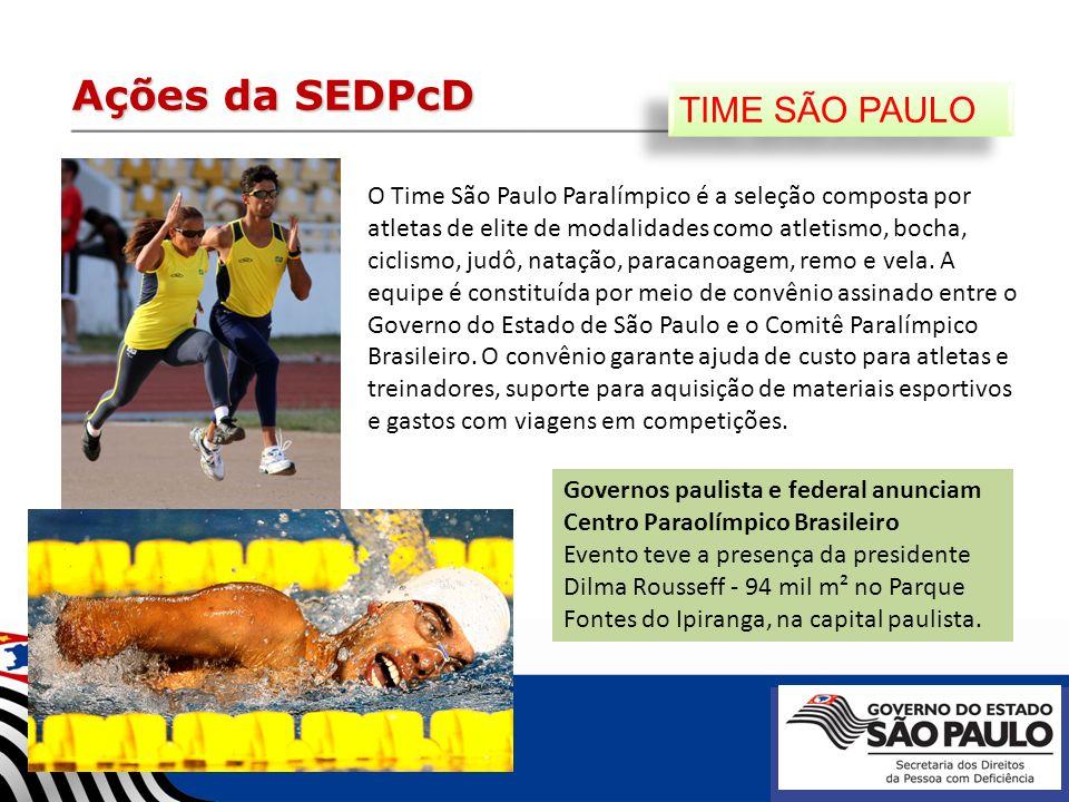 Ações da SEDPcD TIME SÃO PAULO O Time São Paulo Paralímpico é a seleção composta por atletas de elite de modalidades como atletismo, bocha, ciclismo,