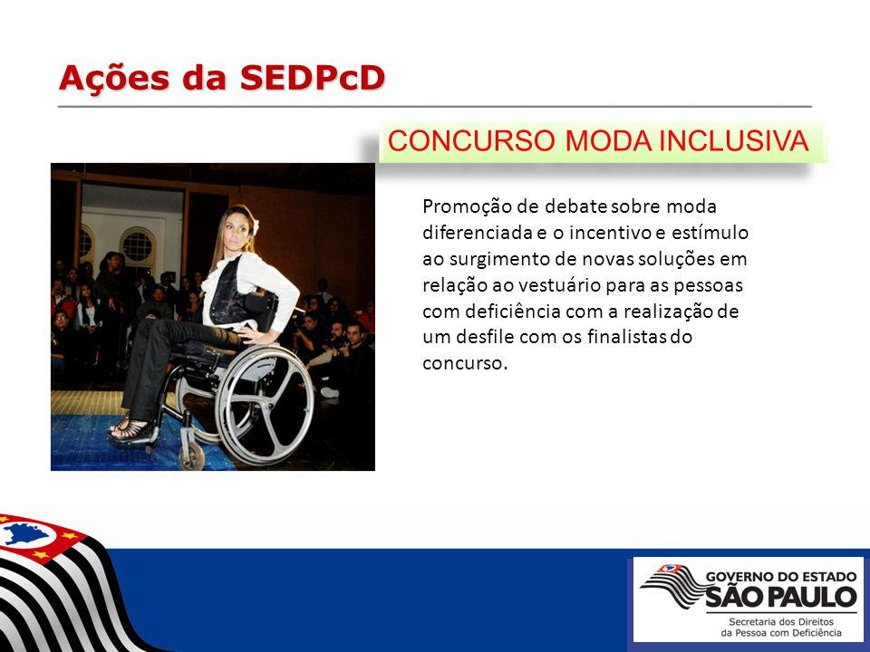 Ações da SEDPcD Promoção de debate sobre moda diferenciada e o incentivo e estímulo ao surgimento de novas soluções em relação ao vestuário para as pe