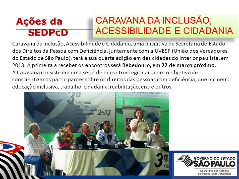 Ações da SEDPcD CARAVANA DA INCLUSÃO, ACESSIBILIDADE E CIDADANIA Caravana da Inclusão, Acessibilidade e Cidadania, uma iniciativa da Secretaria de Est