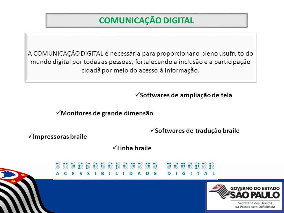 COMUNICAÇÃO DIGITAL Softwares leitores de tela Programas texto-voz Teclados e mouses alternativos Softwares simuladores de mouse e teclado Scanner e OCR (Reconhecimento Óptico de Caracteres)
